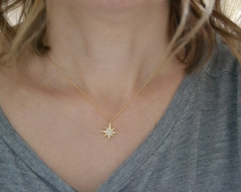 Dainty Star Necklace | Gold Star Pendant | Cubic Zirconia Star Jewellery