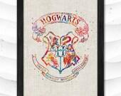 Hogwarts Crest Watercolor Print Harry Potter Art Print Illustrations Room Wizard Nursery Kids Room Gift Linen Poster CAP180
