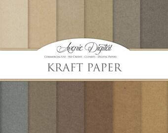Kraft Digital Paper. Scrapbooking Backgrounds, Cardboard patterns for Commercial Use. Brown Paper bag textures.Clipart Instant Download.