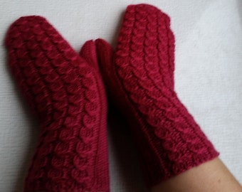 Red/ wine- red mittens/gloves handmade knitted