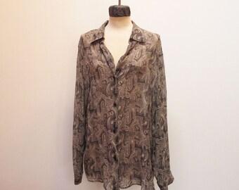 80s 90s Paisley Chiffon Silk Oversized Blouse