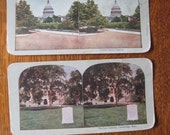 JUST REDUCED!! 2 Antique Stereoscope Cards in Colour - Law Library and United States Capitol