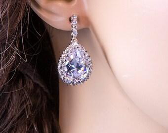 Wedding Earrings Zirconia Earrings Wedding Jewelry Bridesmaid Earrings Bridesmaid Accessories Dangling Teardrop Earrings stl36