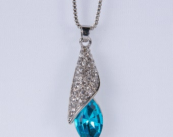 Teardrop Necklace,Teardrop Pendant Wedding Jewelry, Prom, Jewelry Beautiful Blue Zircon Stone Pendant Bridesmaid n45