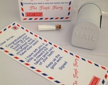 Mini Mail - Tooth Fairy personalised letters x 10 , mini mailbox, fairy dust - teeth gift