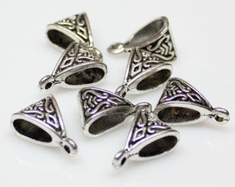 10pcs--Bail Beads, Teardrop, Antique Silver (B11-2)