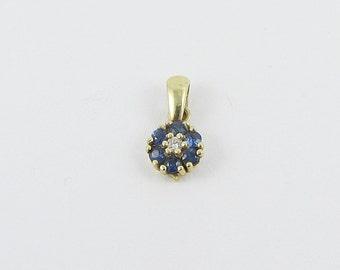 14 K Gold,Pendant,Diamond, Saphire,Ladies