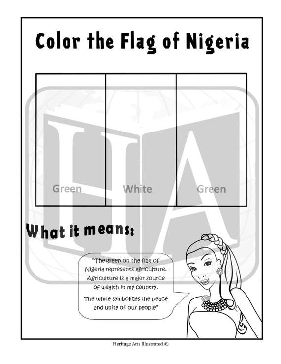 nigeria coloring pages | Items similar to BDOA-Flag of Nigeria Coloring Page on Etsy