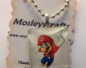 Mario necklace/Mario pendant necklace/game jewelry/handmade jewelry/Nintendo Jewelry