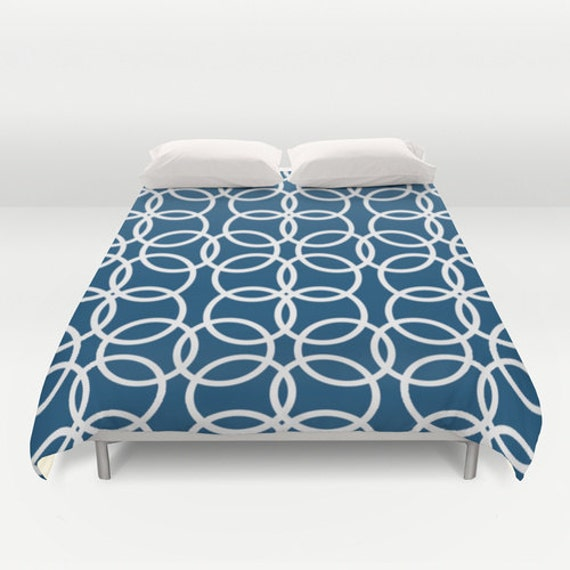 navy blue and white duvet cover king queen by designbyjuliabars. Black Bedroom Furniture Sets. Home Design Ideas