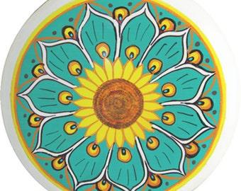 Turquoise Aqua and Yellow Talavera Style Ceramic Drawer Cabinet Knob