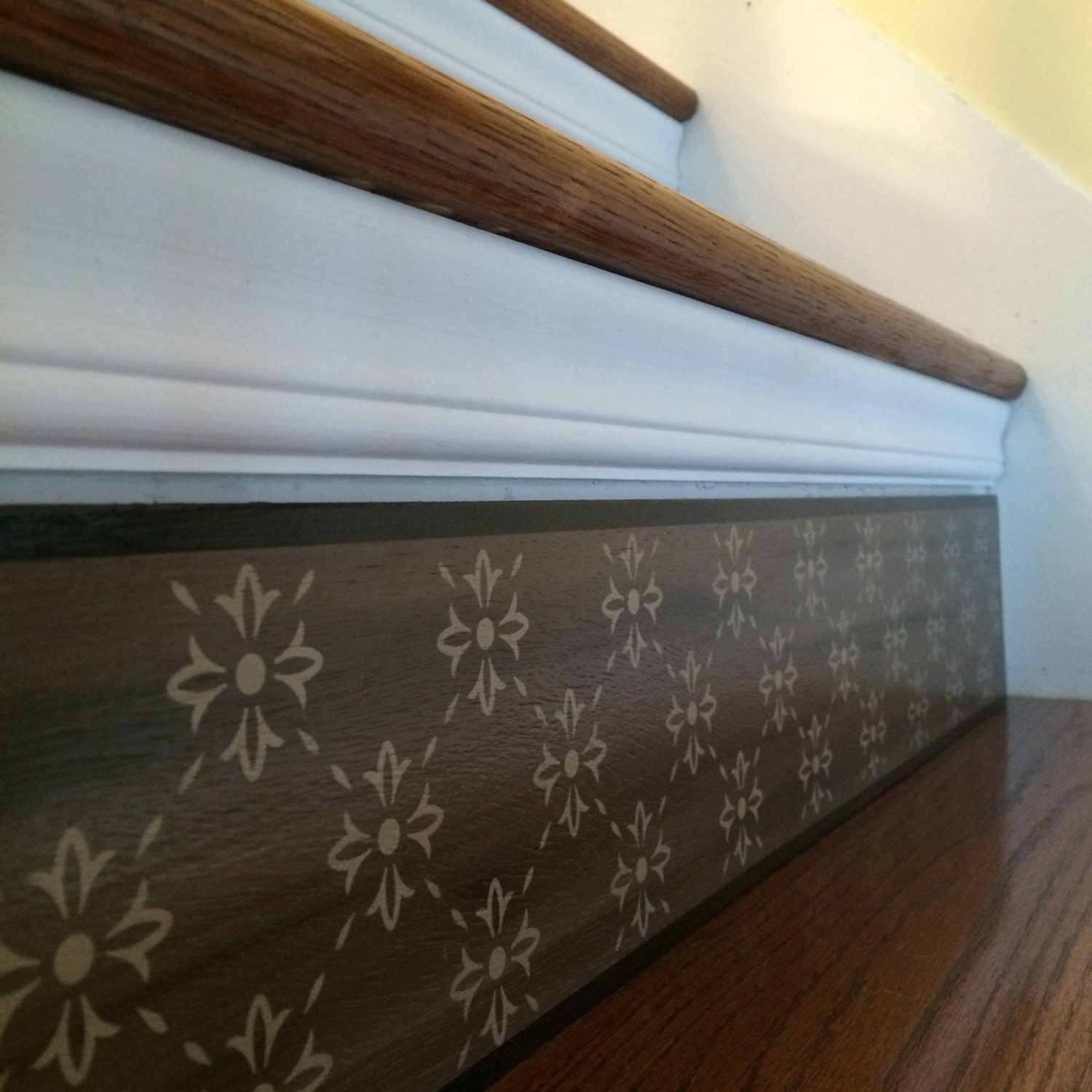 Carved Wood Stair Risers Stair Ideas Stamped Leather: Alternative To Stair Riser Decals Stair Stencils And Stair