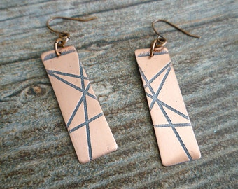 Etched Copper Earrings, Antiqued Copper Earrings, Etched Copper Jewelry, Oxidized Copper Earrings, Geometric, Abstract