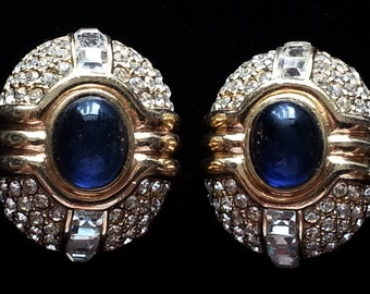 Gorgeous Large Blue Ciner Earrings 80s