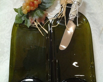 Slumped Double-Bottle Wine Bottle Cheese Tray