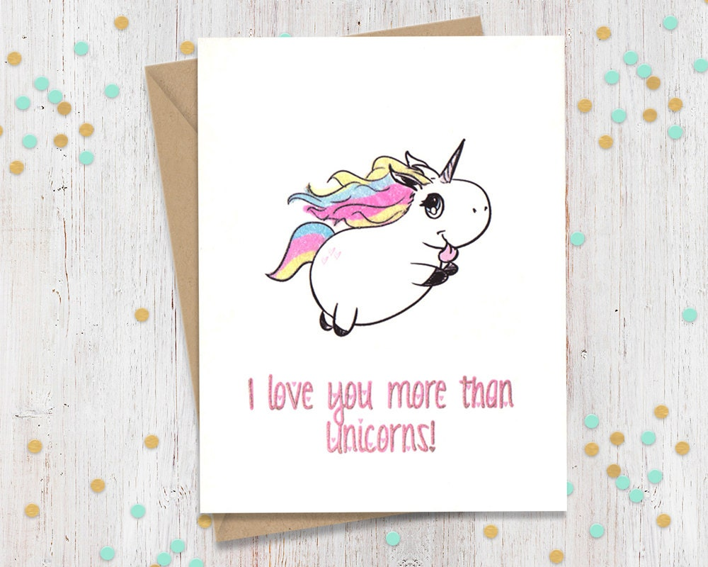 unicorn card funny anniversary card card for her card for