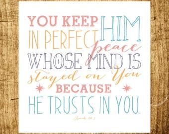"Isaiah 26:3 - Perfect Peace - Scripture Art - 8x8"" Digital Print - Instant Download"