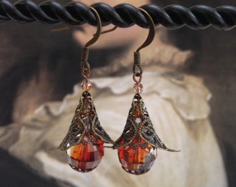 Filigree and crystal drop earrings