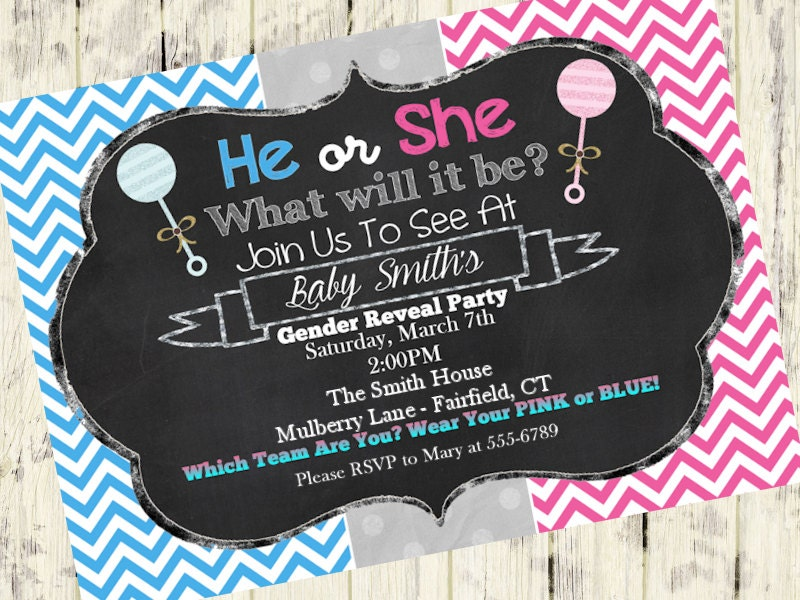 gender reveal invitationchalkboard baby girl or boy, Baby shower invitations