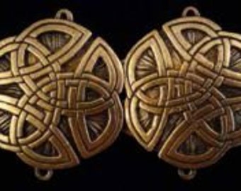 Round Brass Overlay Celtic Cloak Clasp Medieval Renaissance SCA