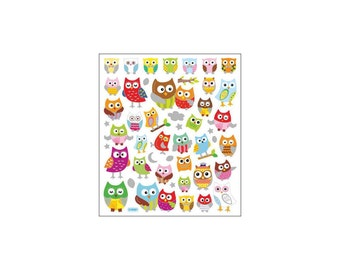 CLEARANCE! Wide Eyed Owls Multi-Colored Stickers