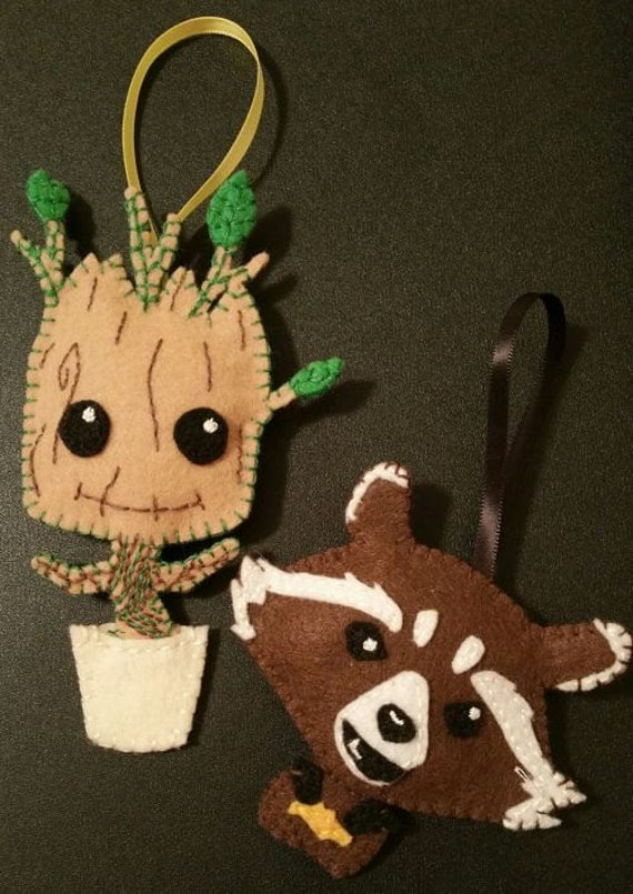 Rocket and Baby Groot, Guardians of the galaxy. Nerdy christmas ornaments.