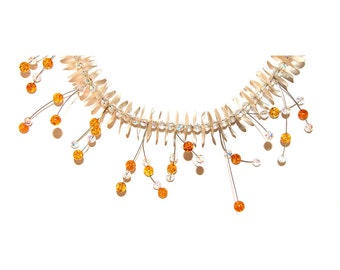 An Artist Work - Unique Design Baltic Amber Silver And Swarovski Crystal Necklace