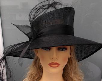 Vintage style hat, Black sinamay hat, Wedding hat, Event hat, Ascot hat, Race hat, Derby hat