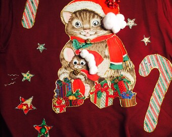 Cute/ Tacky/ Ugly Cat  and Mouse Christmas sweater/sweatshirt Maroon