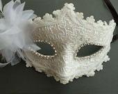 Venetian Masquerade Lace Women Diamond Flower Mask for Party, Prom,Mardi Gras SQ005-white