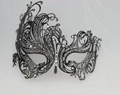 Beautiful Womens Swan Half Face Laser Cut Metal Venetian Masquerade Mask w/ Rhinestones Black