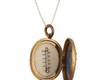 Genuine Victorian 12k Gold Thermometer Locket, 1880-90s - Antique - Vintage Locket