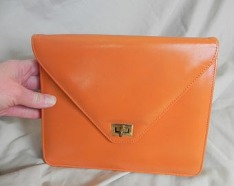 1960's or 1970's Fun Orange Vinyl Clutch Purse