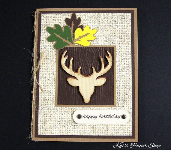 Greeting Card, Masculine Card, Handmade Greeting Card, Birthday Card, Paper Handmade Greeting Card, Deer Card, Boyfriend Card