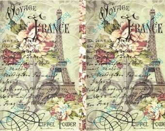 Decoupage paper Paris, Eifel tower, decoupage sheet, collage sheet, scrapbooking sheet, book cover, vintage, roses, France, romantic, green