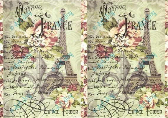 Decoupage paper paris eifel tower decoupage sheet collage sheet
