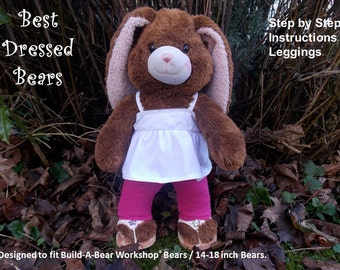 "Sewing Pattern for Leggings to fit 'Build-A-Bear' Workshop® Bears / 14-18"" bears. PDF Pattern to download & print. Full size pattern pieces"