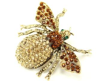 Bee Brooch, Crystal, Amber, Brown, Bee Broach, Rhinestone, Bumblebee, Brooches, Bee Jewelry, DIY Project Jewelry Craft Embellishment