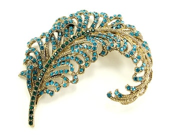 Feather Brooch Crystal Teal Blue Green Gold Feather Broach Jewelry Feather Brooches