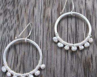 Earrings in white and silver with mother of pearl beads, wedding, hoops, classic