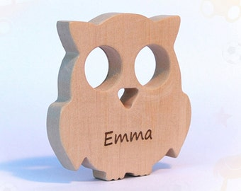 wooden teether owl, baby toy, personalized wood toy, natural