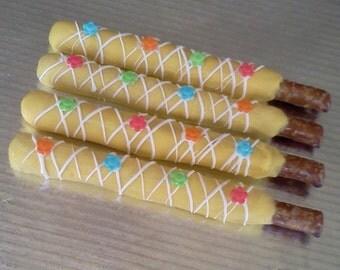 It's Springtime! Pretzel Rods, Yellow Pretzel Rods, Colorful Pretzel Rods, 1 Dozen