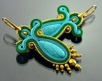 Turquoise Gold Soutache Earrings, Long Turquoise Earrings, Turquoise Gold Long Earrings, Dangling Embroidery Earrings, Soutache Embroidery