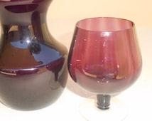 Retro Glass Vases  Set of Two  1970's Vintage Burgundy Glassware