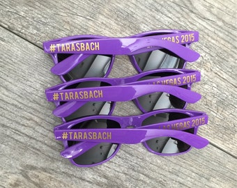 Personalized sunglasses -  Hashtag - bachelorette party, wedding favor, bachelor party, girls night, graduation, spring break