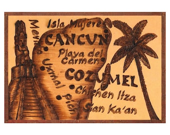 CANCUN and COZUMEL - Handmade Leather Travel Photo Album - Natural