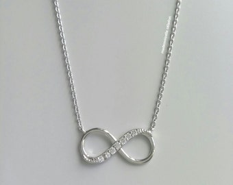 Infinity necklace, infinite, love - solid silver necklace 925 and zirkonias, adjustable size, symbol love - Infiny - Necklace silver 925 -.