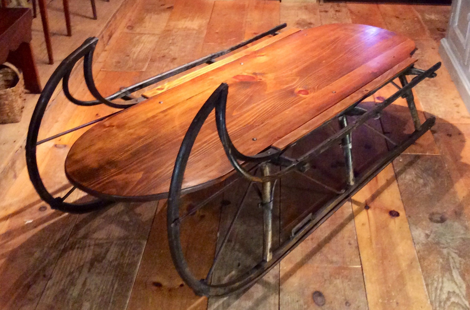 Vintage industrial wood and glass sled coffee table for sale at antique sleigh coffee table circa 1870 by smugglersnotchantiqu geotapseo Images