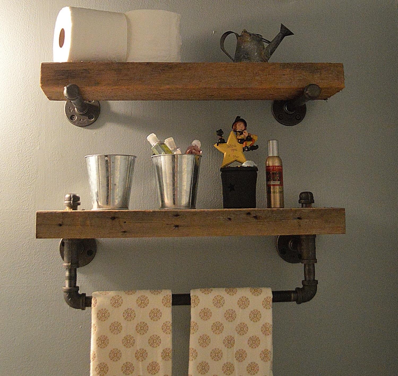 Barn Wood Shelves ~ Reclaimed barn wood bathroom shelves