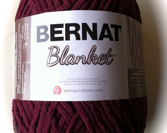 PURPLE PLUM Bernat Blanket Yarn 10430~258yds~ 10.5 oz~Super Bulky(6) Bernat Blanket~Basket Yarn